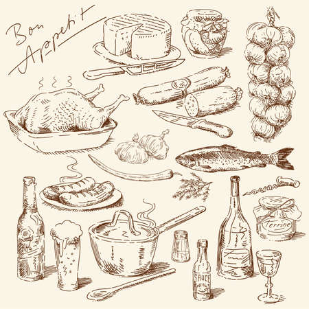 roast dinner: big collection of hand drawn food Illustration