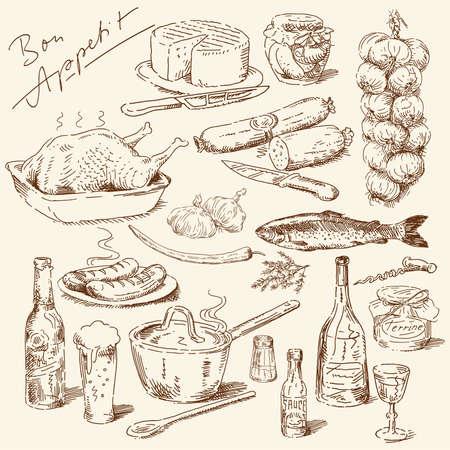 arrosto: grande collezione di prodotti alimentari disegnati a mano Vettoriali