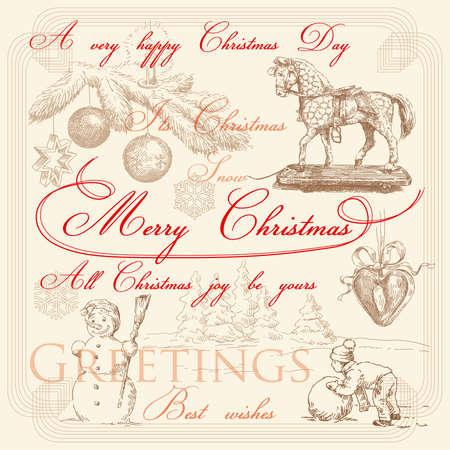 hand drawn retro christmas greetings  Ilustracja