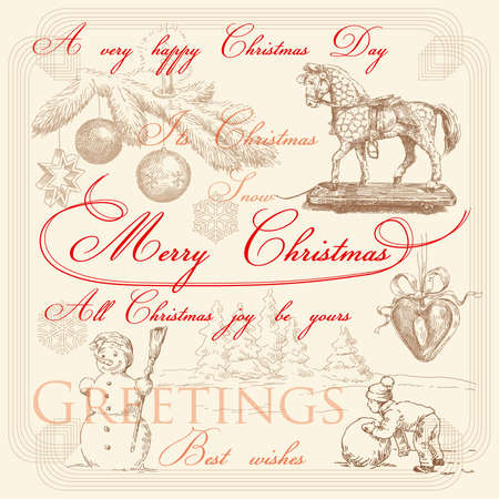 hand drawn retro christmas greetings  Vector
