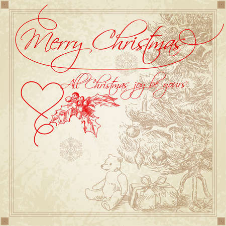 hand drawn retro christmas greetings  Illustration