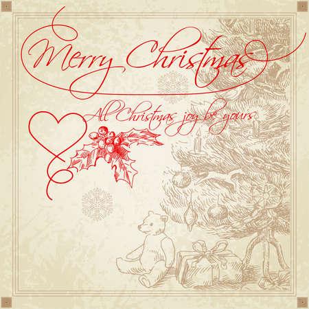 bear berry: hand drawn retro christmas greetings  Illustration