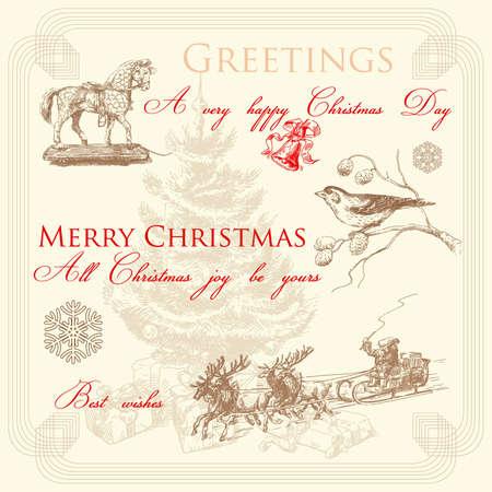 red deer: hand drawn retro christmas greetings  Illustration