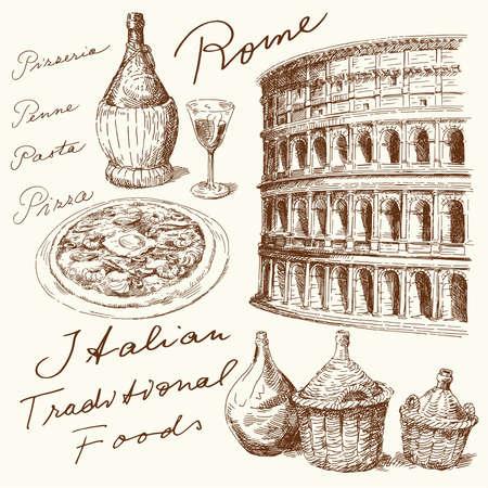 romano: dibujado a mano conjunto italiano