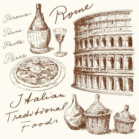 ancient roman: hand drawn italian set
