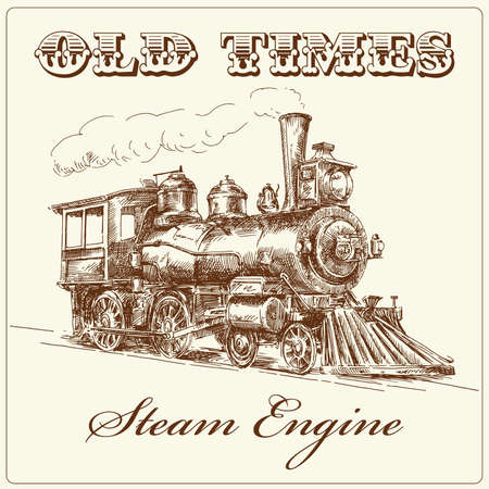 railway engine: hand drawn steam locomotive
