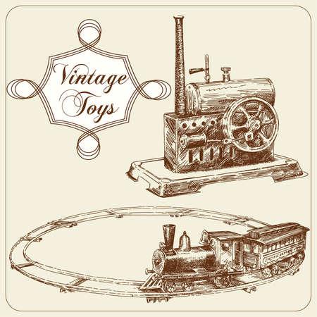 steam locomotive: hand drawn antique toys Illustration