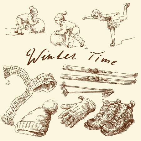 beanie: hand drawn winter set  Illustration