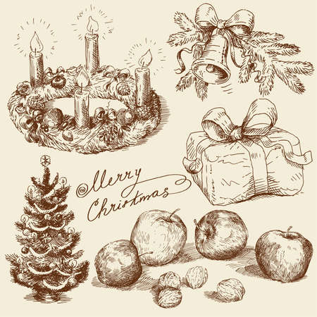 hand drawn christmas collection  Vector
