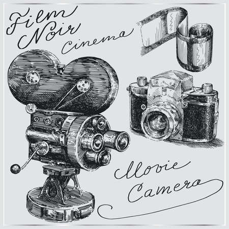 old photograph: hand drawn cameras  Illustration