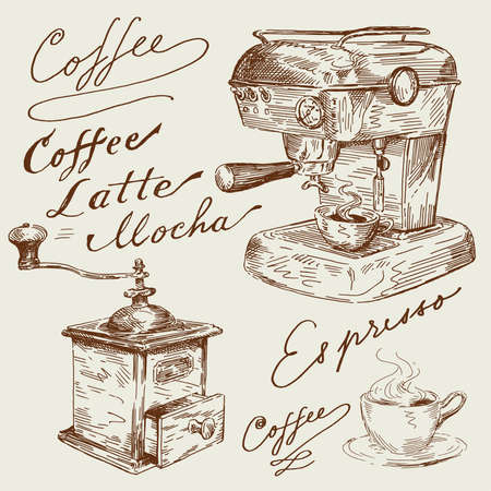 espresso machine: hand drawn coffee set