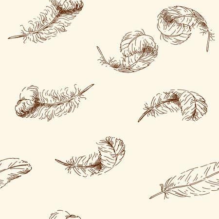 pajaro  dibujo: dibujado a mano sin patrón Vectores