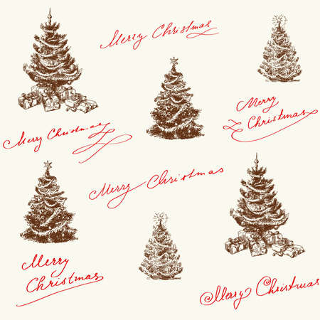 hand drawn christmas pattern  Vector