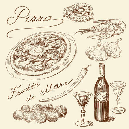 hand drawn pizza set  Vector