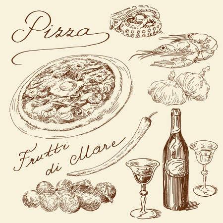 italian restaurant: hand drawn pizza set  Illustration