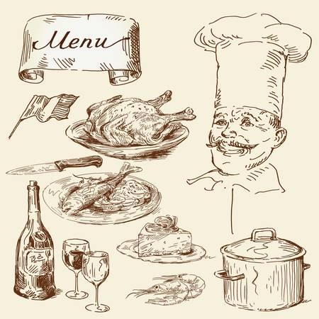 viande couteau: collecte de denr�es alimentaires dessin�s � la main
