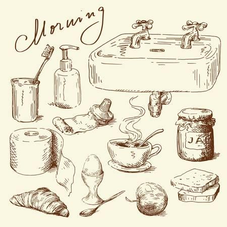 pasta dientes: dibujado a mano set ma�ana