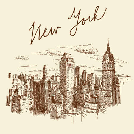 high rise buildings: hand drawn new york