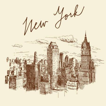 chrysler building: hand drawn new york
