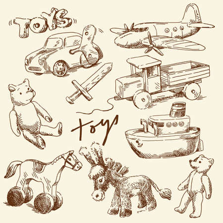 hand drawn toys for boys  Vector