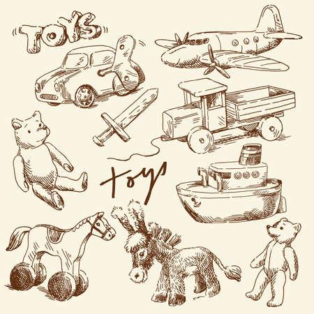 juguetes antiguos: juguetes elaborados a mano para los niños