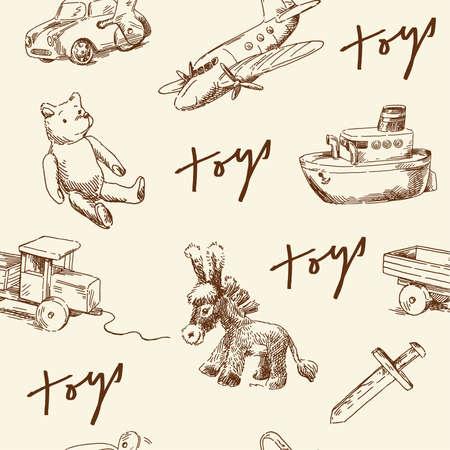 おもちゃのシームレスなパターン  イラスト・ベクター素材