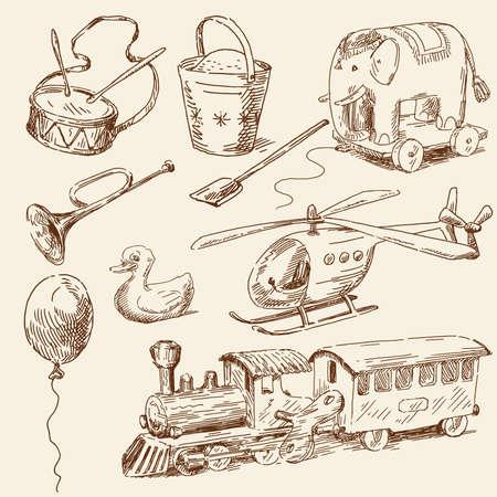 juguetes antiguos: dibujado a mano juguetes colección