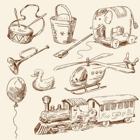 hand drawn toys collection  Vector