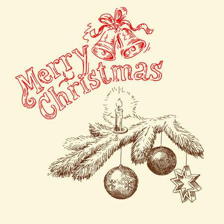 hand drawn christmas card  Illustration