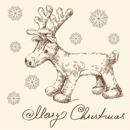 plushy: hand drawn christmas card  Illustration