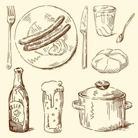 viande couteau: doodles alimentaires