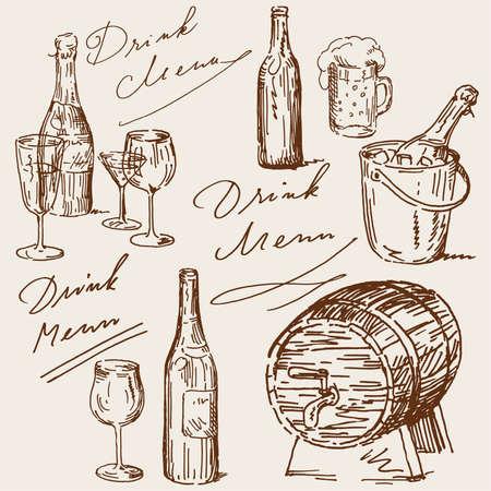bouteille de vin: boire le menu