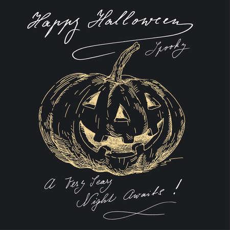 happy halloween in black  Vector