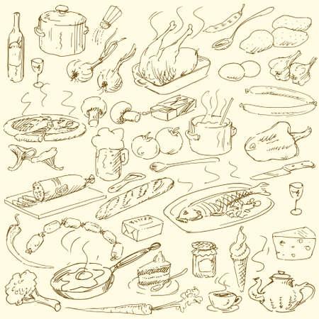 salame: doodles alimentari - collezione disegnata a mano Vettoriali