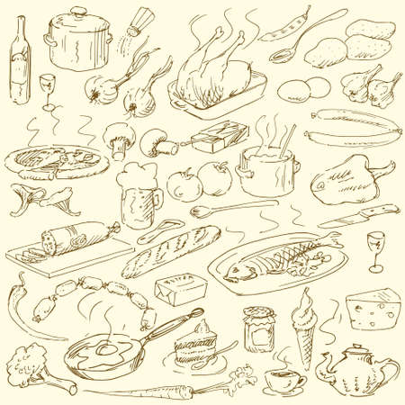 food doodles - hand drawn collection Vector