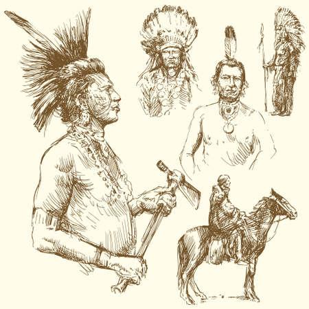 indios americanos: Wild West - colección de dibujado a mano