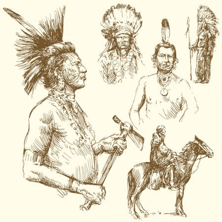 native indian: wild west - hand drawn collection Illustration