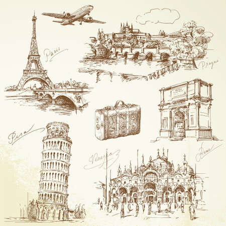 ヨーロッパ旅行 - 手描き下ろしコレクション  イラスト・ベクター素材