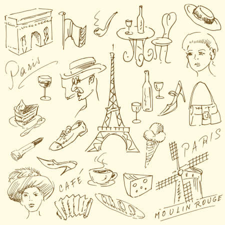 Paris doodles - hand drawn collection Vector