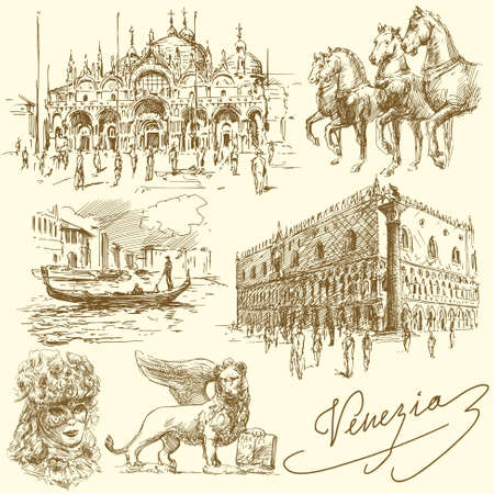 gondolier: Venice - Italy - hand drawn collection