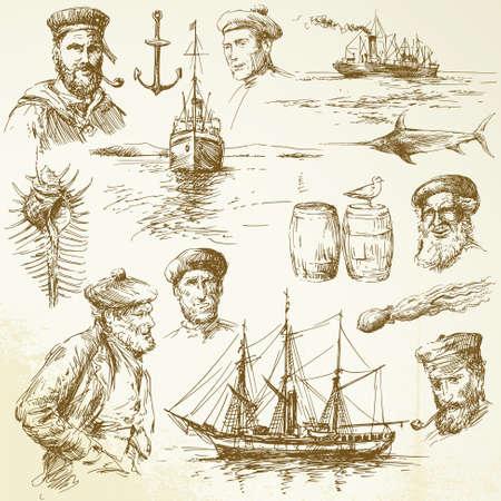barca da pesca: elementi nautici - collezione disegnata a mano