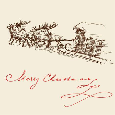 santa sleigh: christmas background
