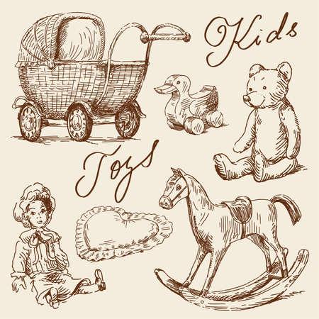 muneca vintage: dibujados a mano juguetes Vectores