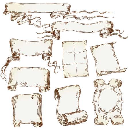 papiro: disegnati a mano scroll vecchia