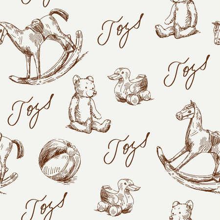 juguetes antiguos: dibujado a mano juguetes sin costuras patrón de