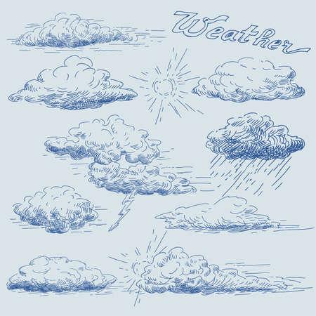 cumulus cloud: hand drawn clouds