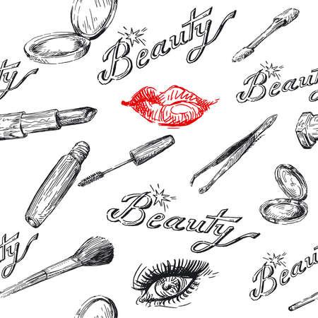 mascara: beauty - seamless pattern  Illustration