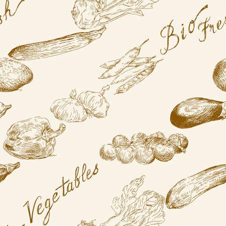シームレスな野菜パターン  イラスト・ベクター素材