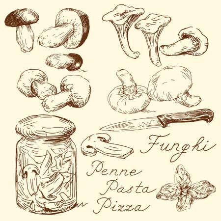 food clipart: mushroom doodles  Illustration