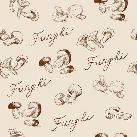autumn mushroom seamless pattern  Vector